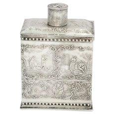 5 5/8 in - European Silver Antique Continental Dating Scenes Tea Caddy