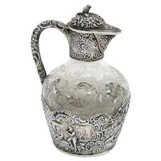 5.75 in European Silver Glass Antique German Hanau Playing Music Small Decanter