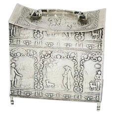 3 5/8 in - 930 Silver Antique Dutch Man w/ Dog Scenes Tea Caddy w/ Handle