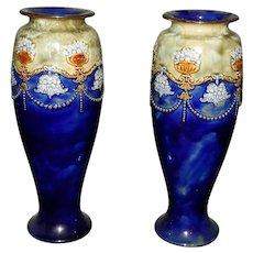 Pair Vintage Royal Doulton Majolica Vases #6570