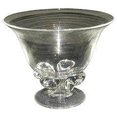 Steuben Crystal Footed Vase Marked