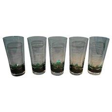 Five Erickson Green Flame Glasses