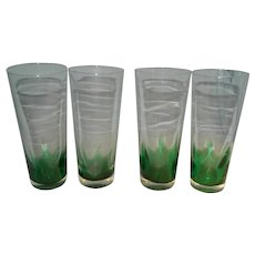 Four Erickson Green Flame Tall Glasses