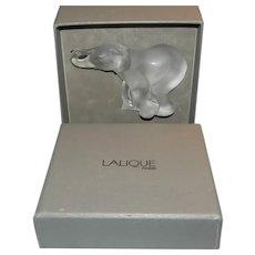 Lalique Frosted Medium Elephant Original Box