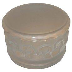 Lalique French Signed Canards Crystal Swans Dresser Box / Powder Jar