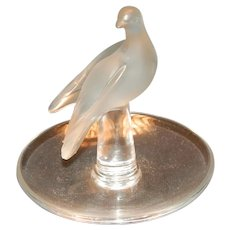 Lalique Frosted Bird Pin Holder
