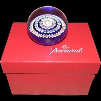 Baccarat Red White Blue Millefiori Paperweight Original Box