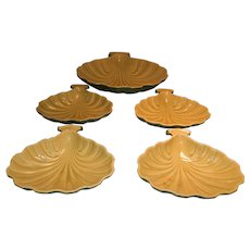 Five Roseville Pottery Mayfair Sea Shell Serving Dishes