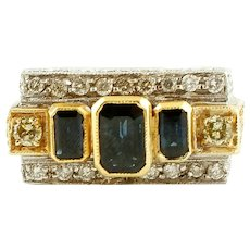 Blue Sapphires, Diamonds, 14k and 18k White and Yellow gold Vintage Ring