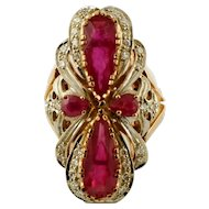 Diamonds, Rubies, 14k White & Rose Gold Vintage Ring