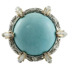 Diamonds, Rock Crystal, Turquoise,14k  White and Rose Gold Cocktail Retrò Ring