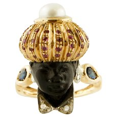 Ebony, Rubies, Sapphires, Diamonds, Rose Gold and Silver Moretto Ring