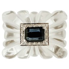 Rock Crystal, Blue Sapphire, Diamonds, White Gold Ring