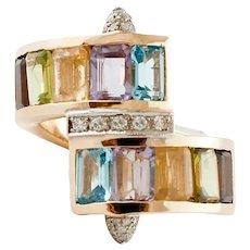 Topazes,Amethyst,Garnets,Aquamarine, Diamonds Yellow Gold Vintage ring