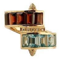 Diamonds, Light Blue Topazes, Garnets, 14k Yellow Gold Vintage Ring