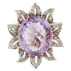 Big central Amethyst, Diamonds, Rose Gold and Silver Flower Ring