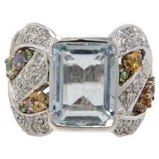 Handcrafted Contemporary Ring White Gold Diamonds Sapphires Aquamarine