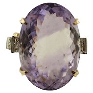 Big Central Amethyst, Diamonds, 14k White and Yellow gold Vintage Ring