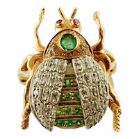 Diamonds, Tsavorite, Rubies, Emeralds, Rose Gold and Silver Beetle Ring