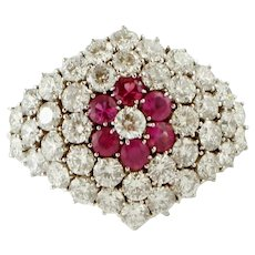 Diamonds and Rubies, White Gold Ring