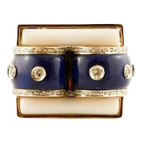 Lapis Lazuli, White Agate, Diamonds, Italian Style Fashion Ring