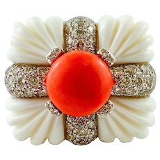 Diamonds, Coral, White Agate, Yellow and White Gold Fashion Ring