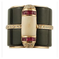 Onyx, Rubies, Diamonds, Pink Coral, 14k Yellow gold Vintage Ring