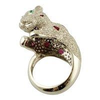 Diamonds, Emeralds, Rubies, 18k White Gold Bear Ring