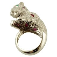 Diamonds, Emeralds, Rubies, 18k White Gold Bear Ring