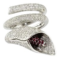 Diamonds Rubies White Gold Lily Ring