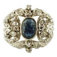 Central Blue Sapphire, Diamonds, 12k white gold Vintage Ring