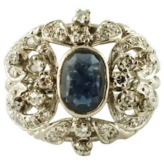 Central Blue Sapphire, Diamonds, 12k white gold Vintage Ring