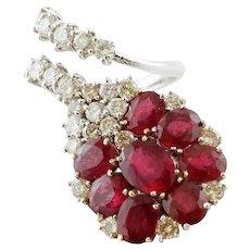Diamonds and Rubies, White Gold Fashion ring