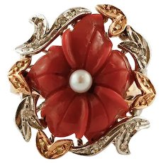 Coral flower, Diamonds, Pearl, Rose and White Gold Retro Ring