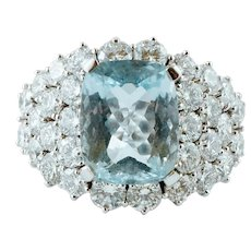 7.64ct Aquamarine and 8.30ct Diamonds Ring