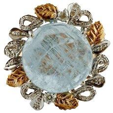 Milk Aquamarine, Diamonds, Rose and White Gold Retro Ring