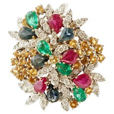 Diamonds, Rubies, Emeralds, Sapphires, White Gold Ring