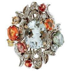 Aquamarine, Topaz, Diamonds, White Gold Ring