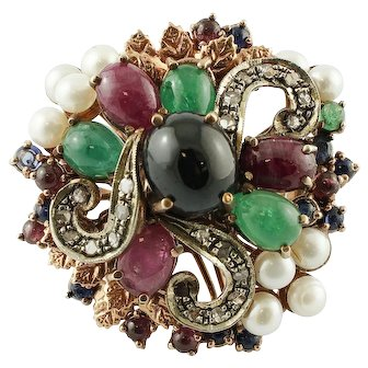 Diamonds, Emeralds, Rubies and Sapphires, Pearls, 9k Rose gold and Silver Vintage Ring