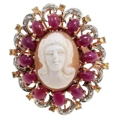 Gold Silver Diamond Ruby Topaz Cameo Cocktail Ring