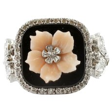 Diamonds, Onyx, Coral, White Gold Retro Ring
