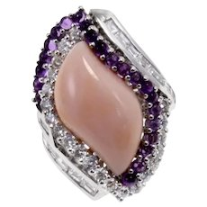 Handcrafted Cocktail Ring Gold Diamond Coral Amethyst
