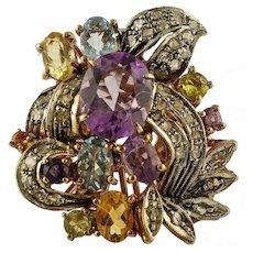 Aquamarine, Diamonds, Topazes, 9 Karat Rose Gold and Silver Cocktail Ring