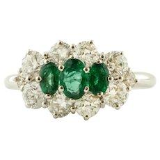 Diamonds, Emeralds, 14k White Gold Ring