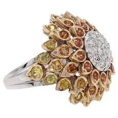 Handcrafted Ring Multicolored Sapphires Diamonds White and Yellow Gold
