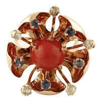 Diamonds, Sapphires, Coral, Rose Gold, Flower Fashion Ring