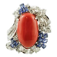Coral, Diamonds, Blue Sapphires, 14k White Gold Cocktail Ring