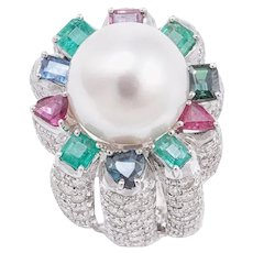 Handcrafted Ring Sapphires Emeralds Rubies Diamonds Pearl White Gold