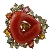 Diamonds,Coral,Sapphires, 14k Rose gold Vintage Cocktail Ring
