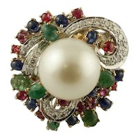 Diamonds, Emeralds, Rubies, Blue Sapphires, Pearl 14k White and Yellow Gold Vintage Ring